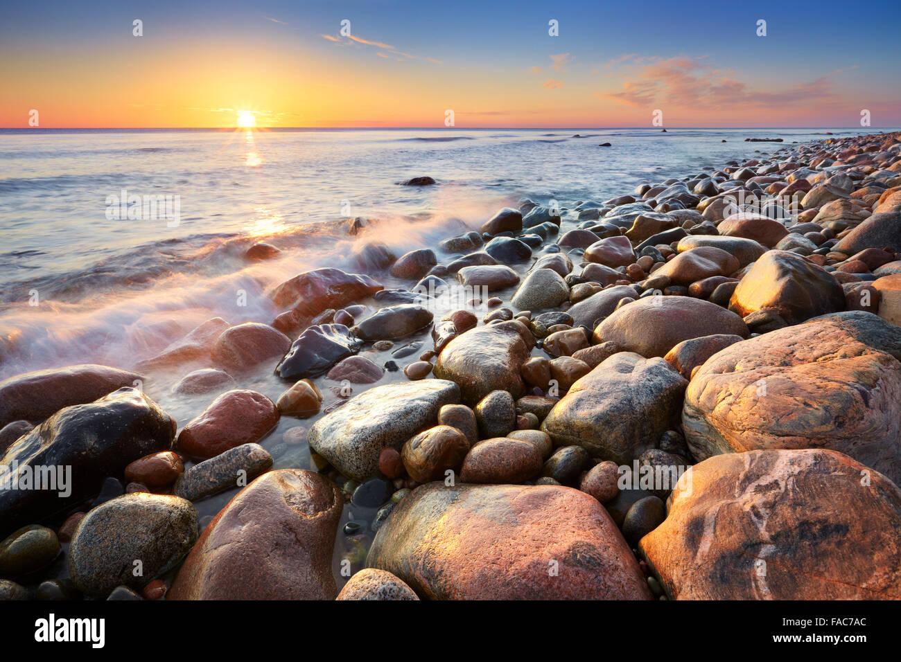 Mar Baltico paesaggio di sunrise, Pomerania, Polonia, Europa Immagini Stock