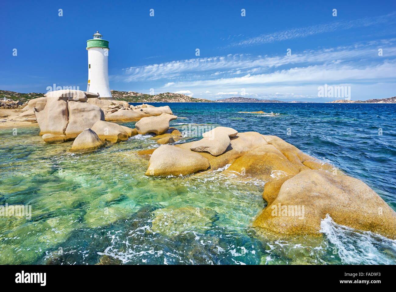 Faro, Palau Costa Smeralda, Sardegna, Italia Immagini Stock