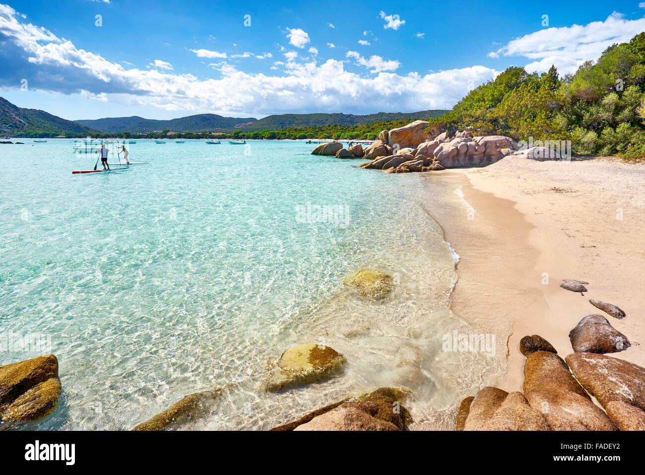 Spiaggia di Santa Giulia, Porto-Vecchio, costa orientale della Corsica, Francia Immagini Stock