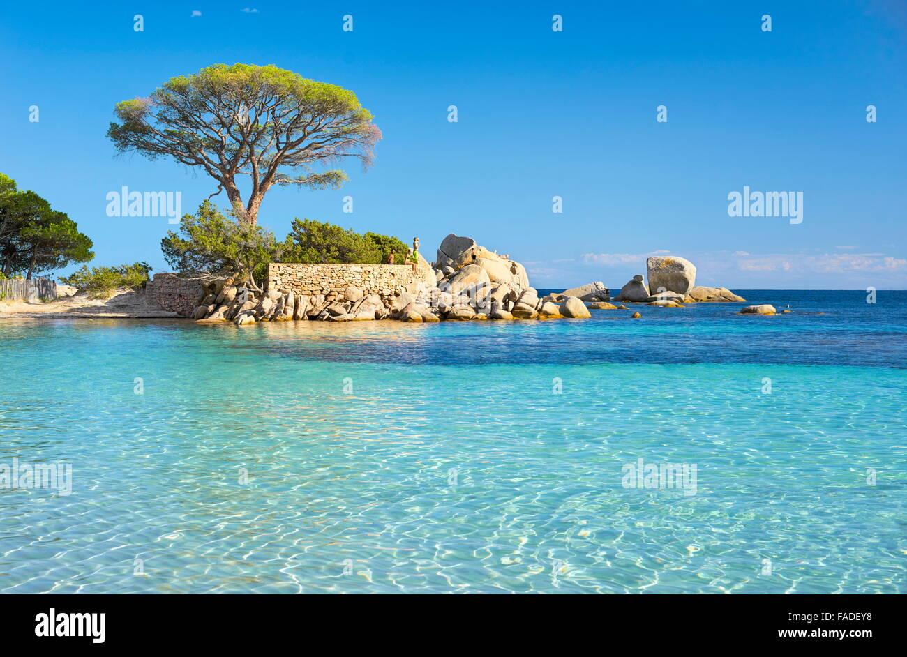 La spiaggia di Palombaggia, Porto-Vecchio, costa orientale della Corsica, Francia Immagini Stock