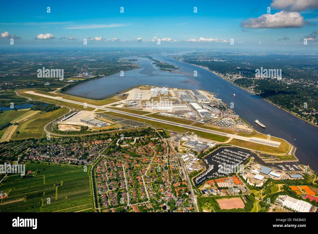 Aeroporto Elba : Vista aerea finkenwerder aeroporto pista e fabbriche di airbus