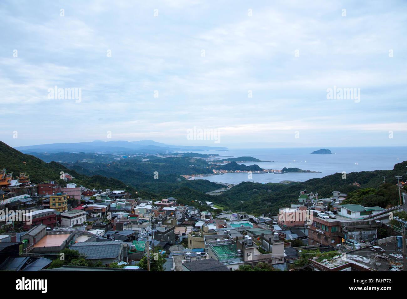 Una vista serale di jiufen Taiwan Immagini Stock