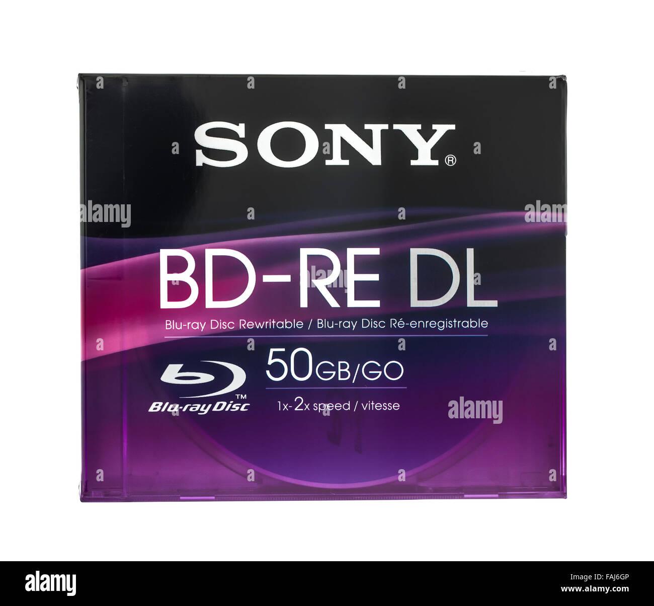 Sony 50GB riscrivibile disco Blu-ray su sfondo bianco Immagini Stock