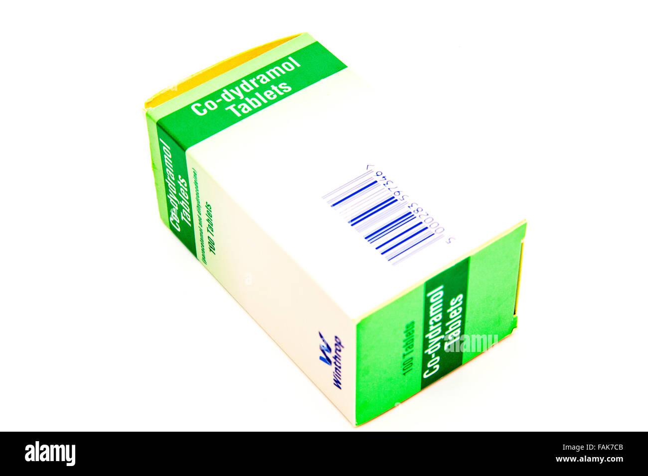 Co-dydramol compresse trattamento trattare dolore moderato-idrocodeina tartrato e paracetamolo casella medicina Immagini Stock
