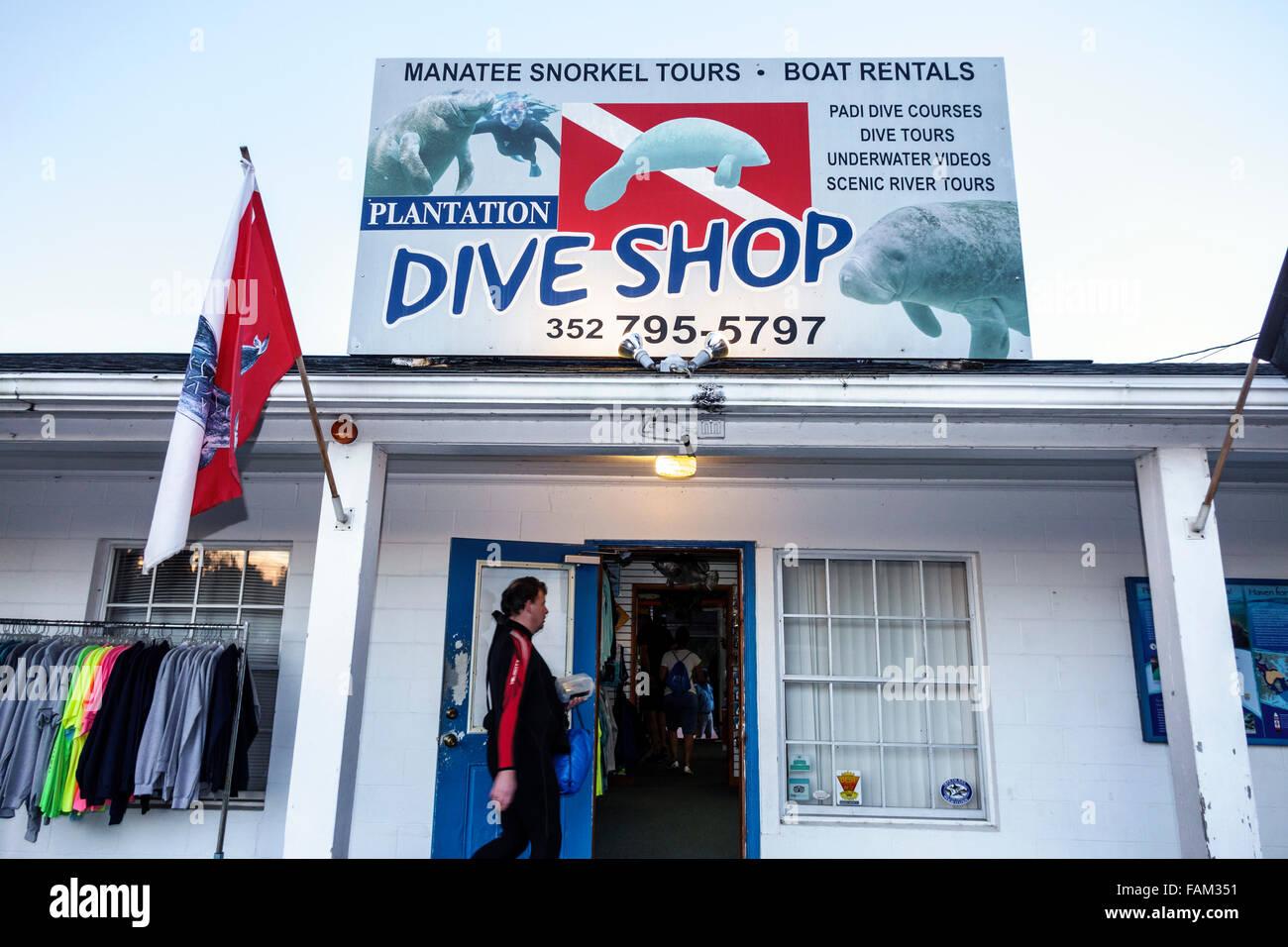 Florida Crystal River Plantation Dive Shop ingresso anteriore manatee tour di snorkelling Immagini Stock