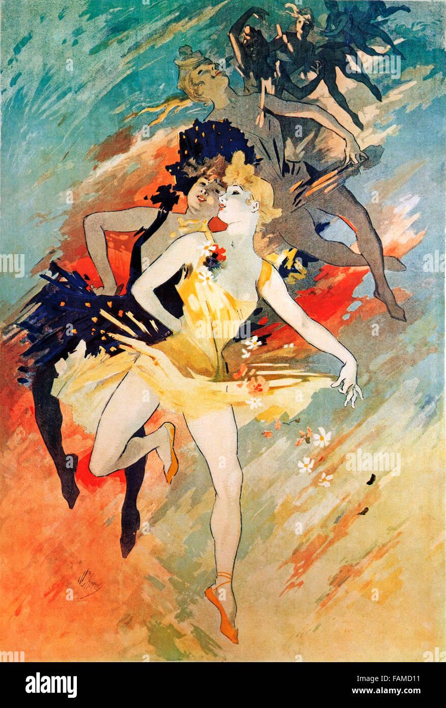 Cheret, La Danse, 1891 Art Nouveau poster della master grafica per illustrare la fase craft Immagini Stock