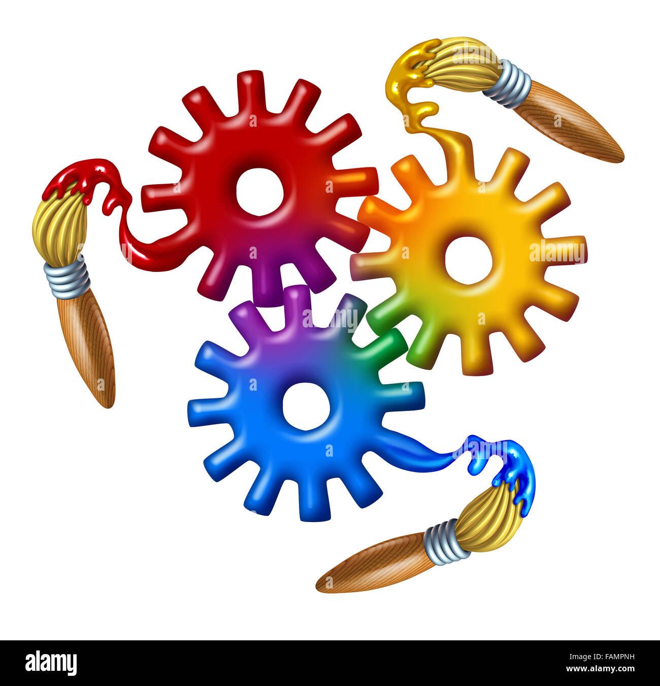 Arte aziende simbolo e teoria del colore icona come un gruppo di ingranaggi e ruote cog fatta di wet primario di Immagini Stock