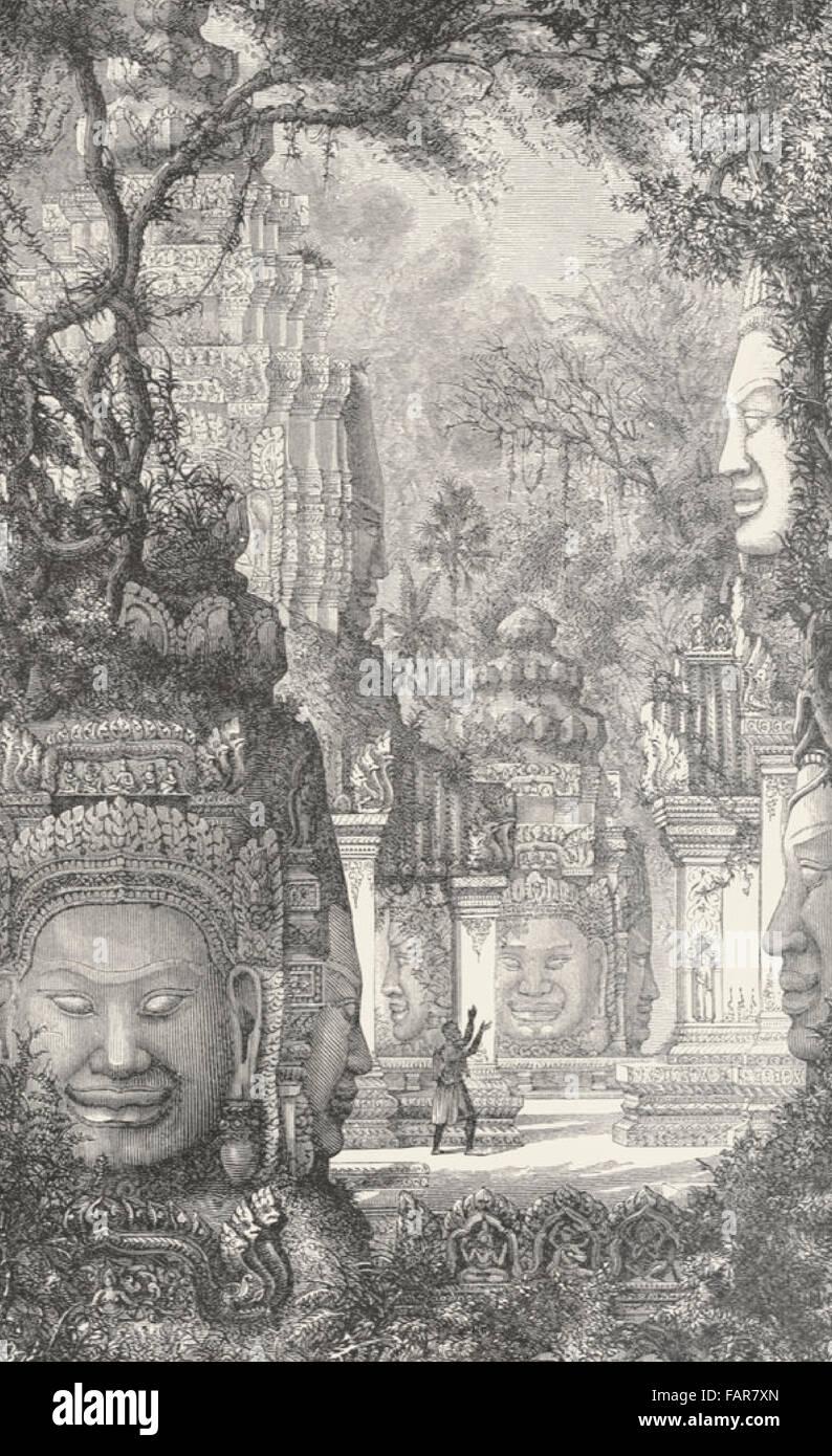 Vista presa in rovine Bayon, Cambogia - 1880 Foto Stock