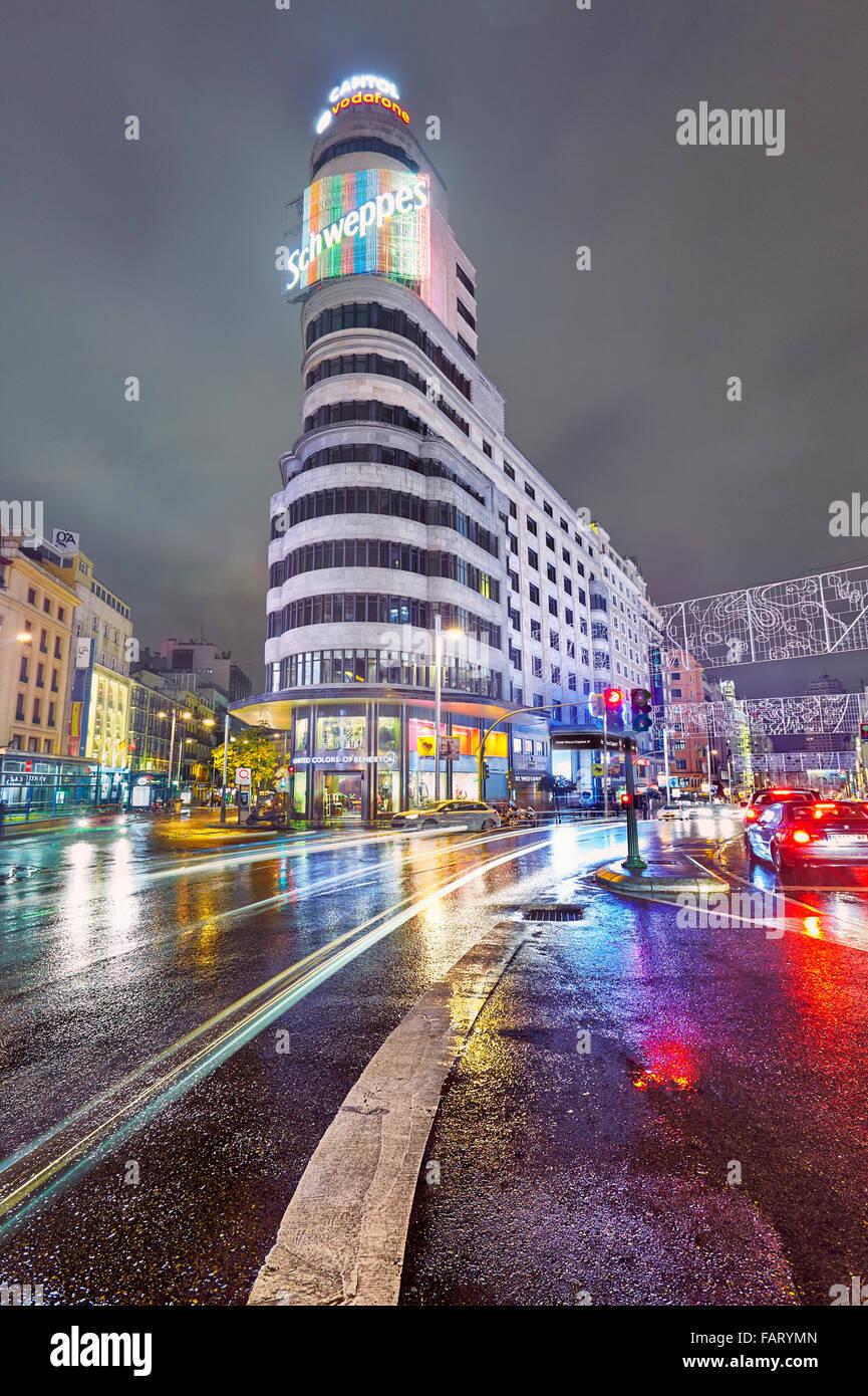 Piazza Callao e Gran Via al crepuscolo. Madrid, Spagna. Immagini Stock