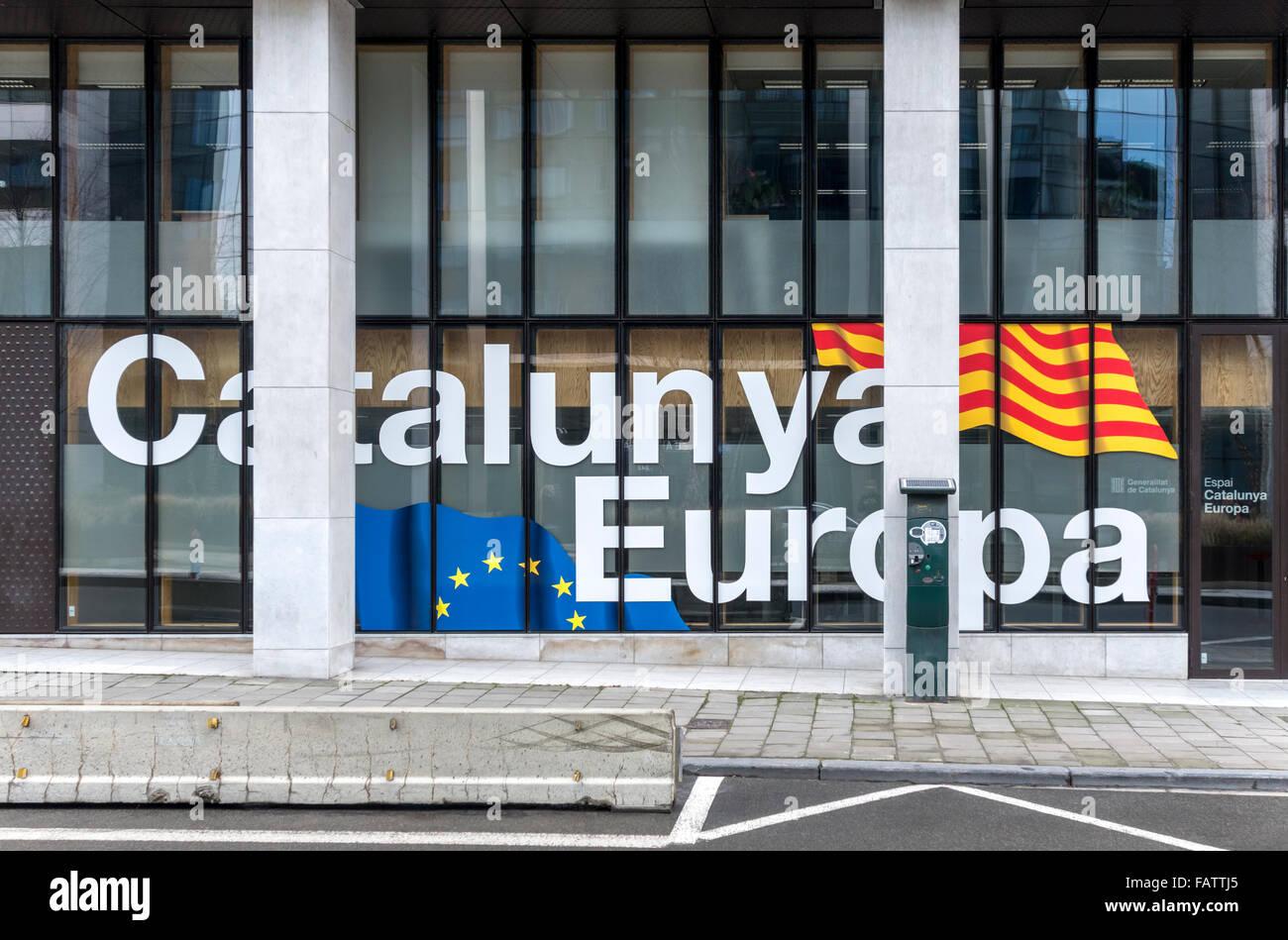 Bruxelles. L'ufficio della delegazione del governo della Catalogna per l'Unione europea UE. Immagini Stock