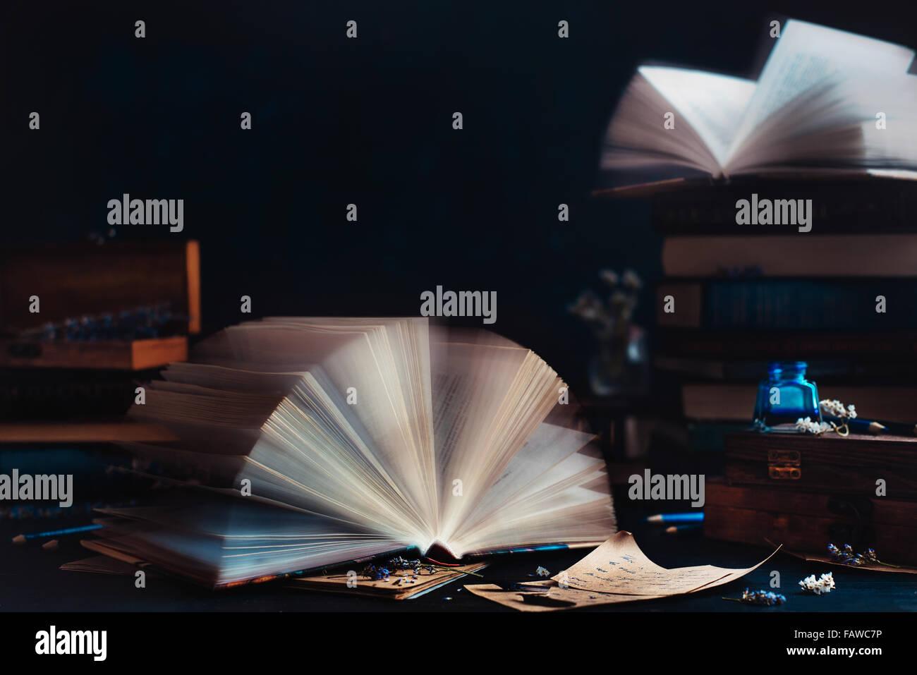 Sala lettura con finestra aperta Immagini Stock