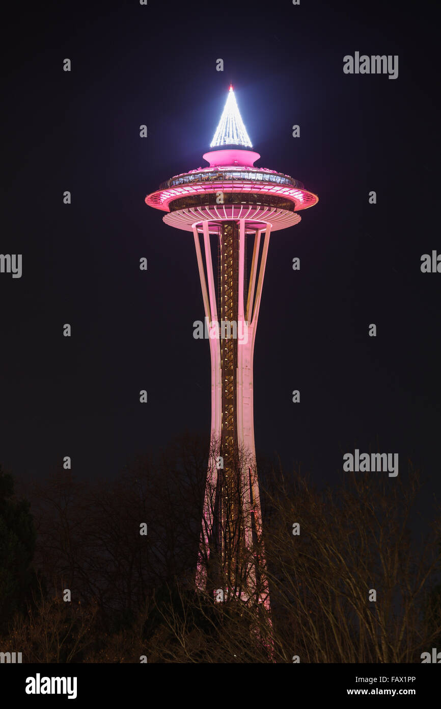 Seattle Space Needle di notte, nello Stato di Washington, USA Immagini Stock