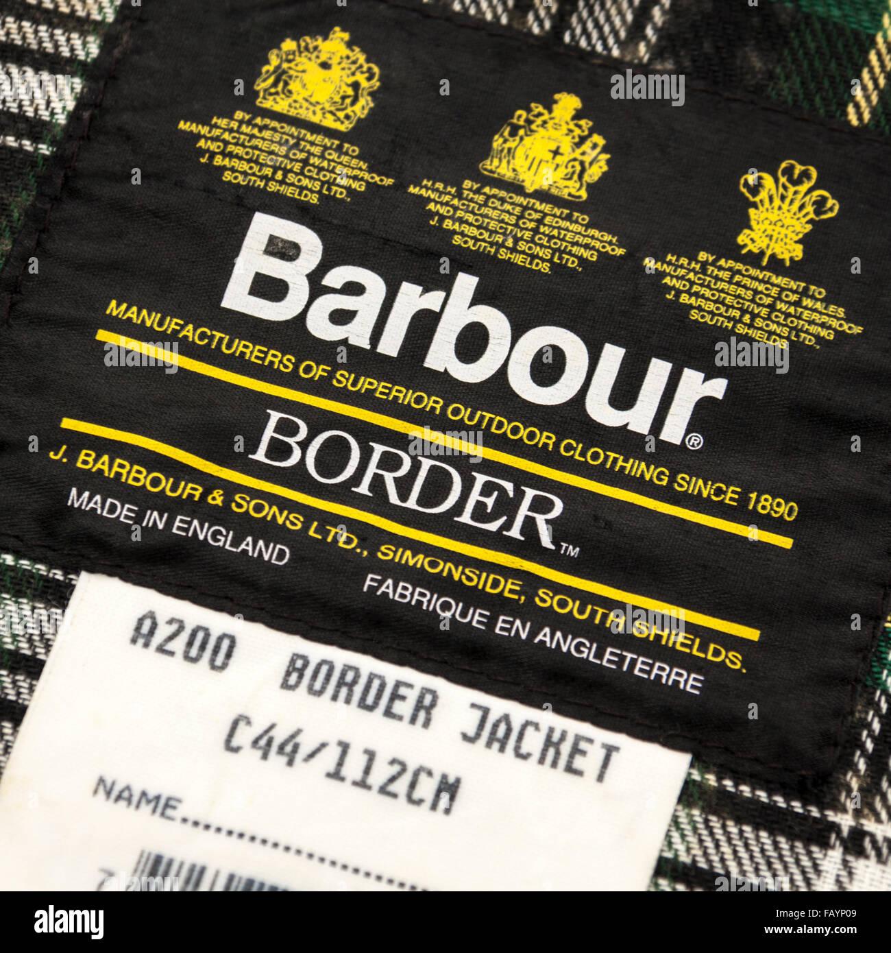 Etichetta all interno di un Barbour A200 Confine cerata giacca 65532ff6a095