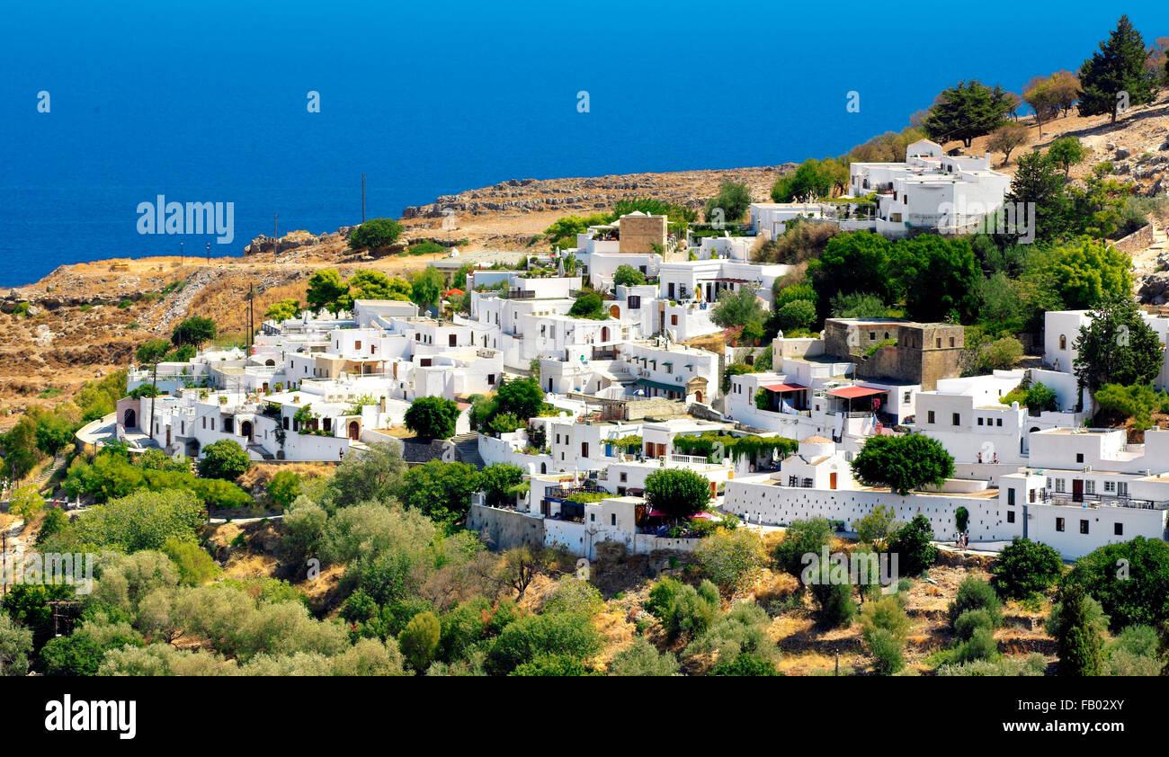 La città di Lindos, Rhods Island, Grecia Immagini Stock
