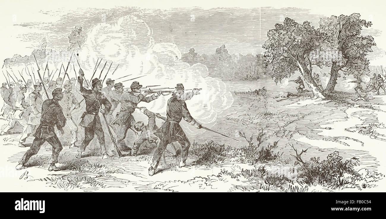 Un distacco del primo Carolina del Sud (colorato) volontari federale sotto il comando del colonnello barba, la repulsione Immagini Stock