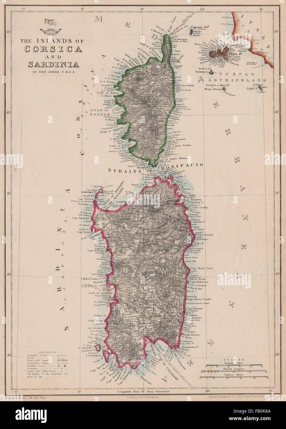 Isole Sardegna Cartina.Le Isole Di Corsica E Sardegna Isola D Elba John Dower Spedizione Atlas 1862 Mappa Foto Stock Alamy