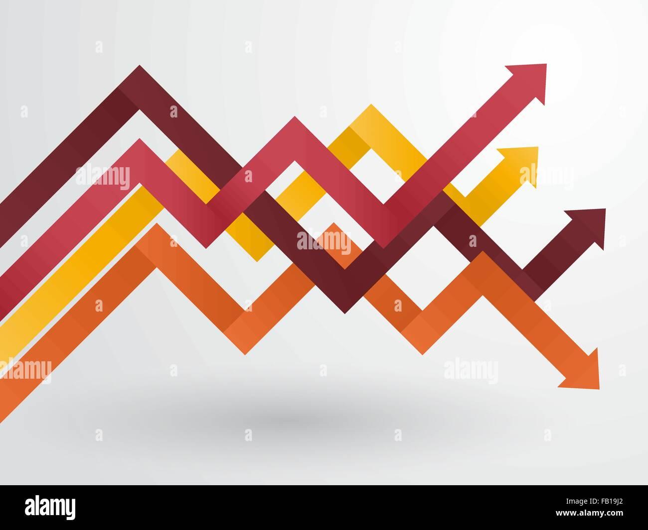 Grafico delle frecce disposte in colori pastello Immagini Stock