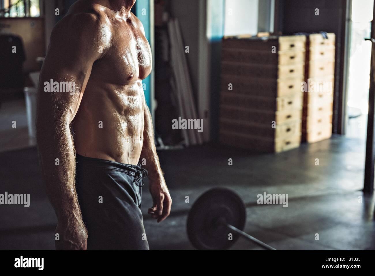 Vista ritagliata della muscolatura uomo in palestra Immagini Stock