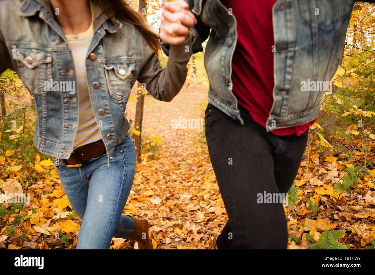 Ritagliato shot romantica di coppia giovane in esecuzione attraverso la foresta di autunno Immagini Stock