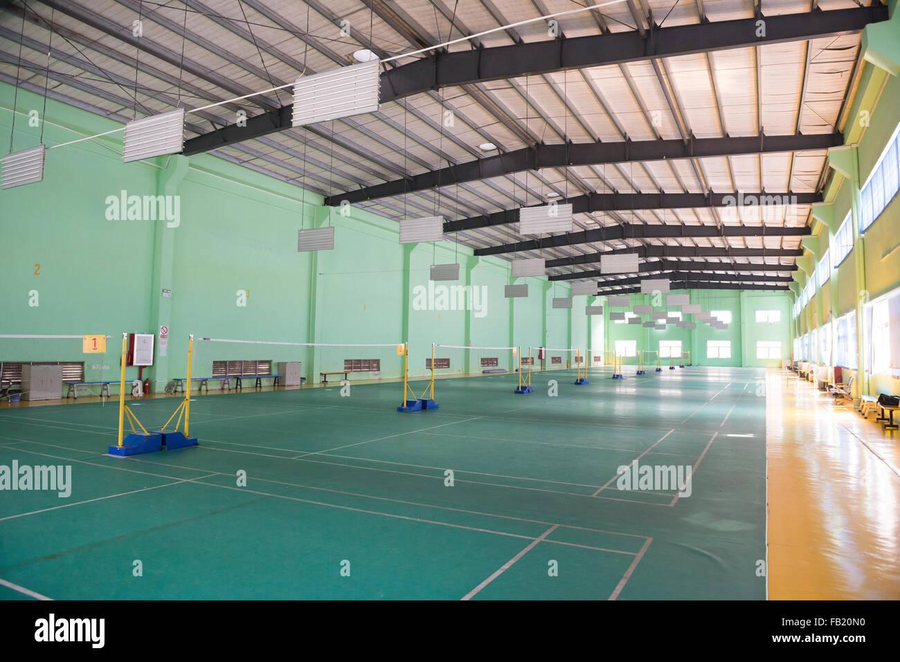 Campi da badminton indoor Immagini Stock