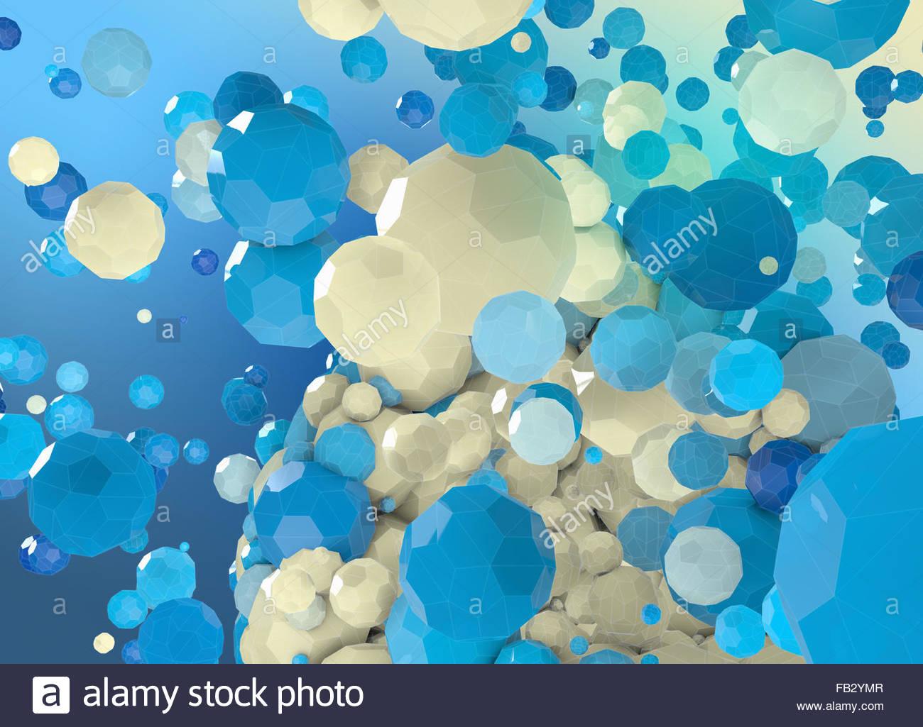 Sfera astratta scomposizione in blu e crema di poligoni Immagini Stock