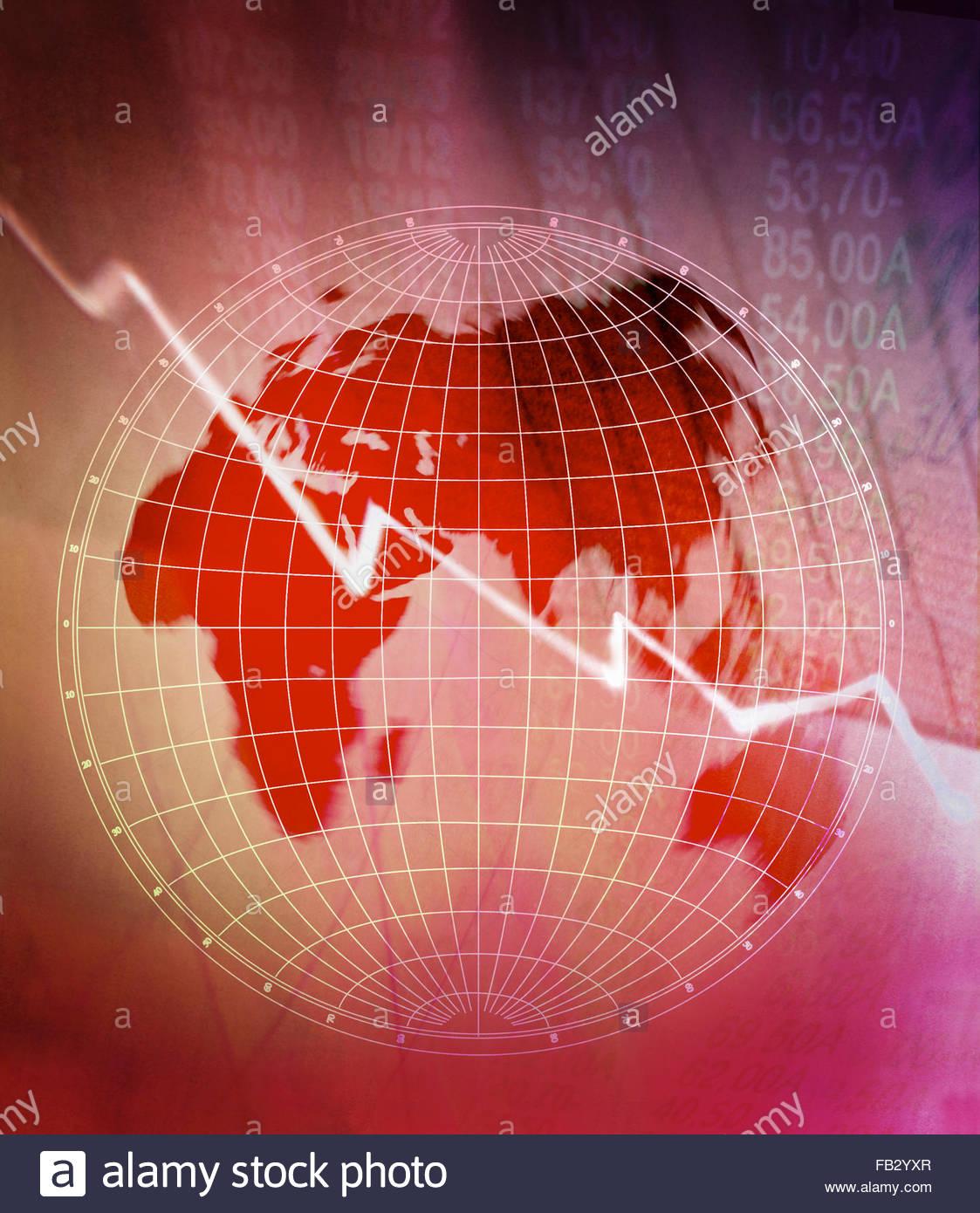 Linea discendente grafico sul globo con il mercato azionario listati Immagini Stock