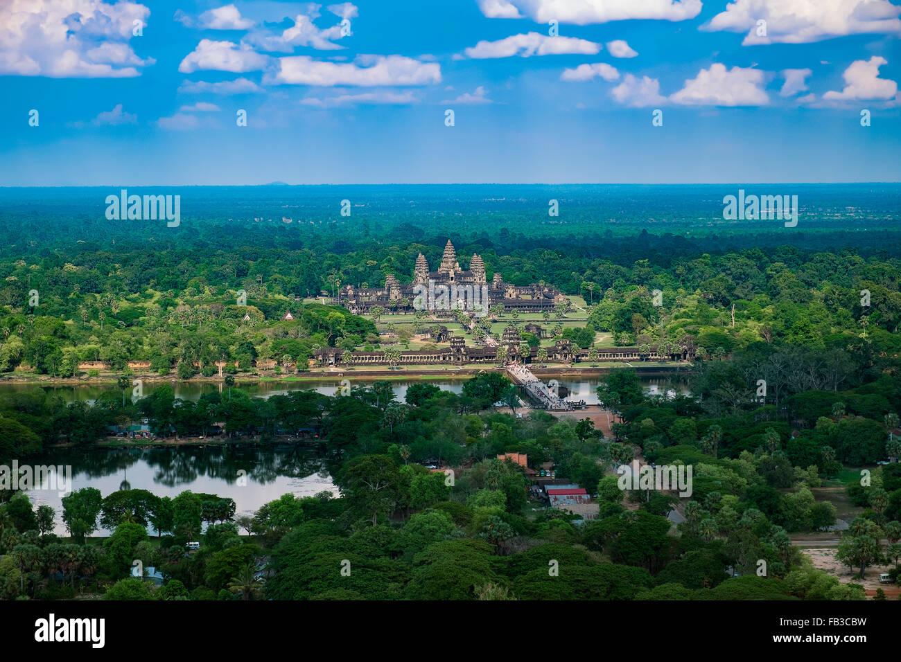 Bella vista aerea di Angkor Wat, Cambogia, sud-est asiatico Immagini Stock