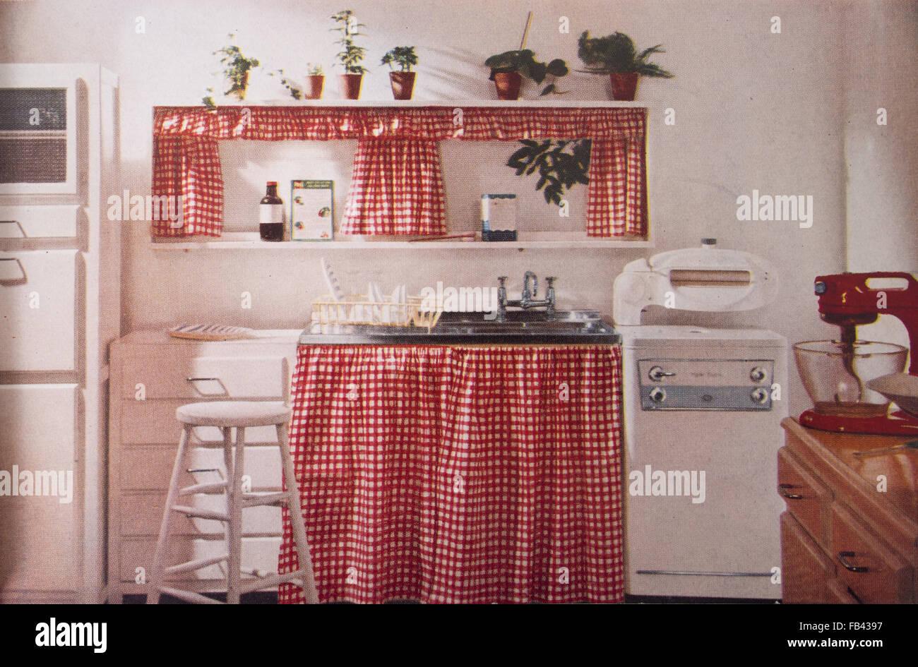 Stampe Da Cucina : Cucina con rosso gingham e strizzatore. stampa da 1957b edizione del