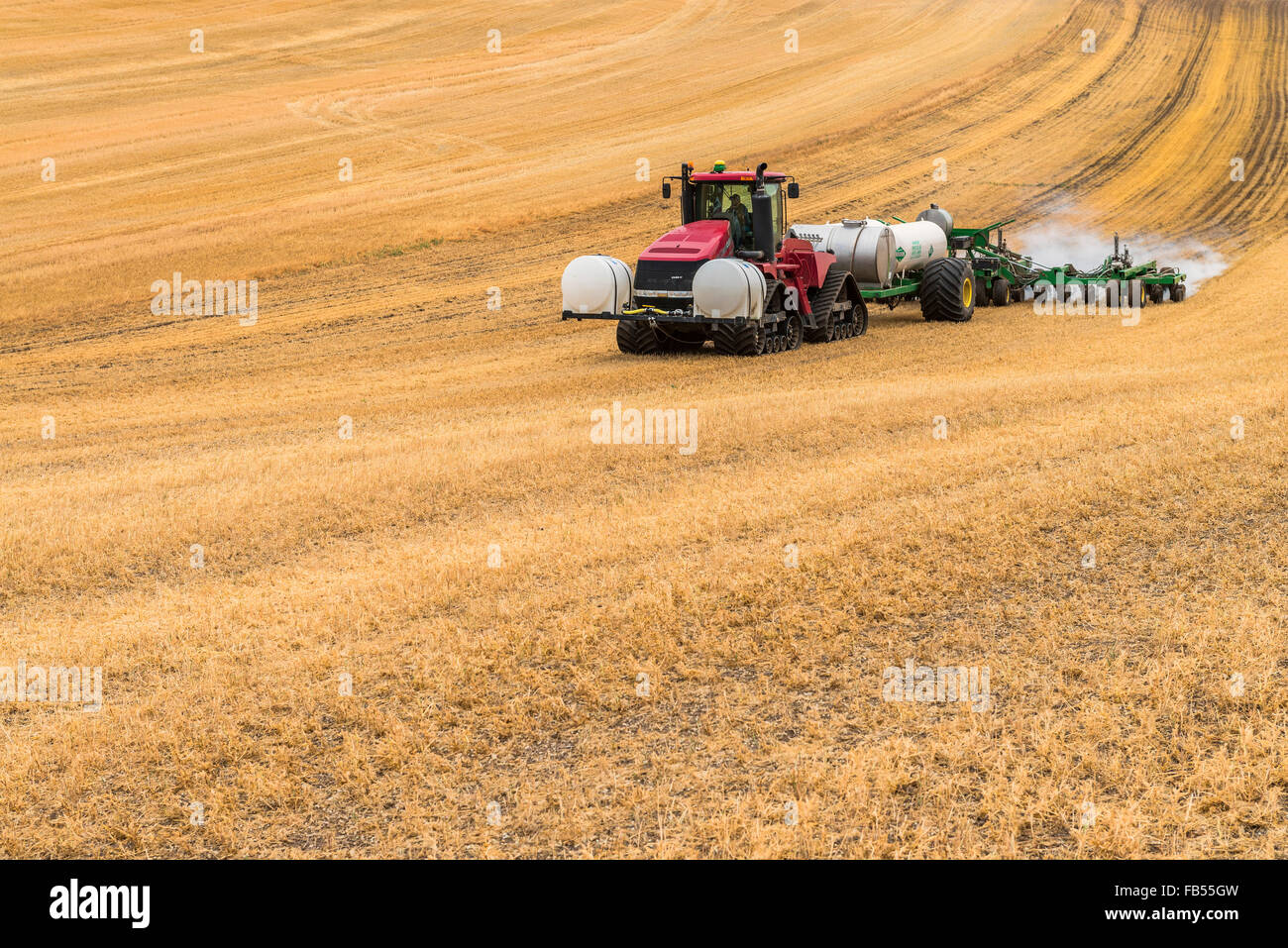 Caso trattore Quadtrac tirando un serbatoio dell'ammoniaca anidra e applicatore applicando la anidro per un Immagini Stock