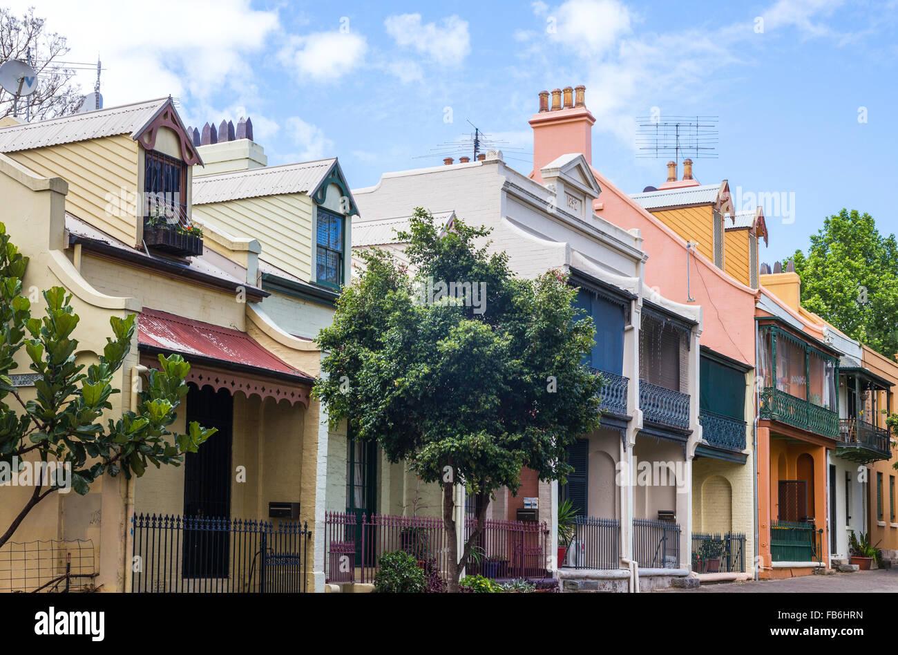 Australia, Sydney, le case tradizionali di Forbes Street Immagini Stock