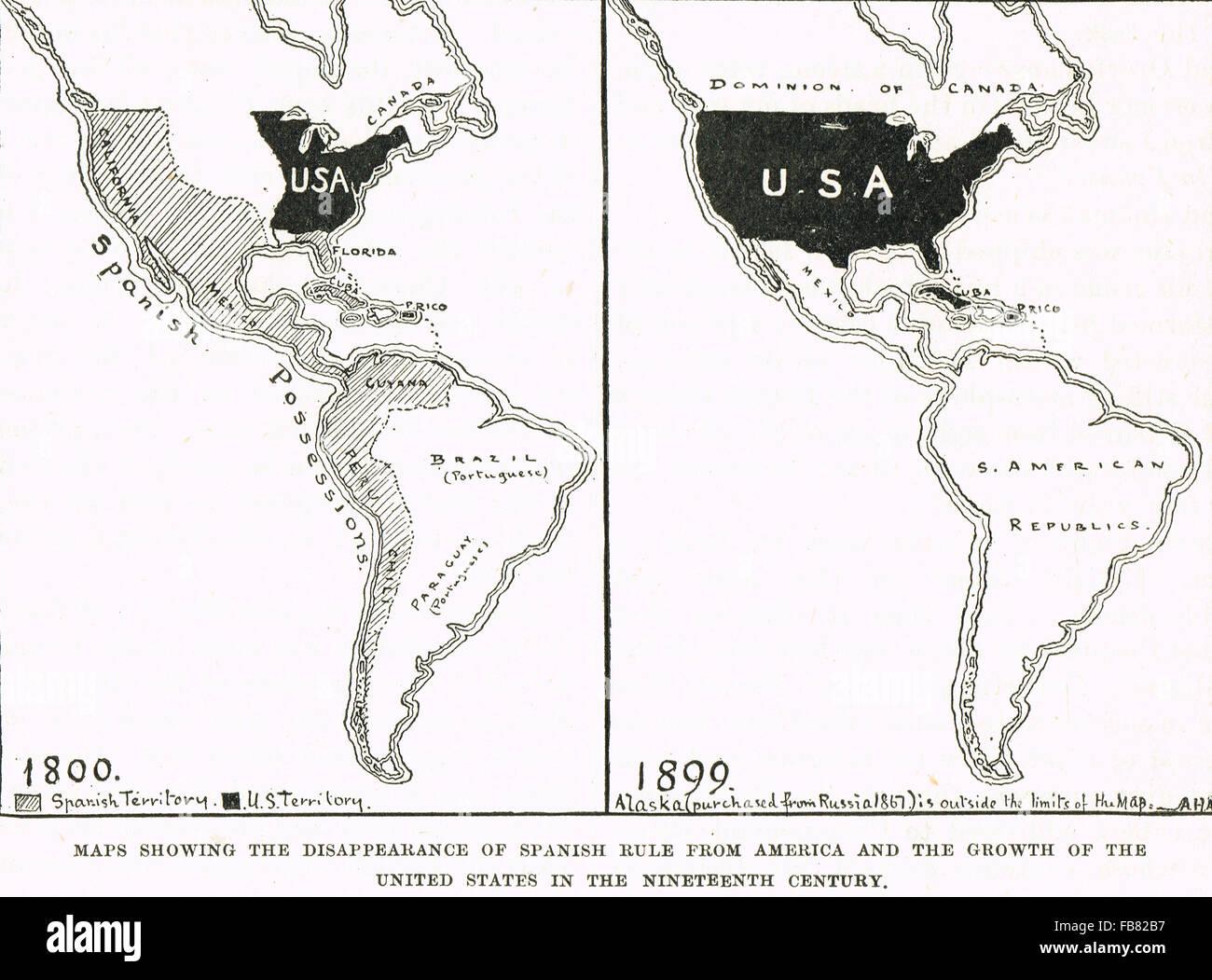 Le mappe che mostrano la crescita degli Stati Uniti d'America e il declino del dominio spagnolo1800-1899 Immagini Stock