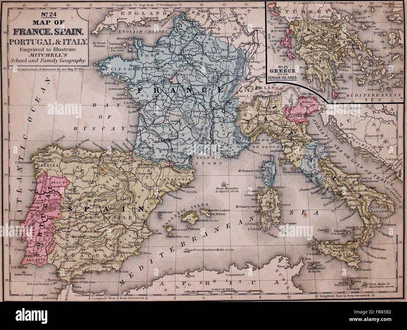 Cartina Italia Francia E Spagna.Mappa Di Francia Spagna Portogallo E Italia Con Una Grecia Inset