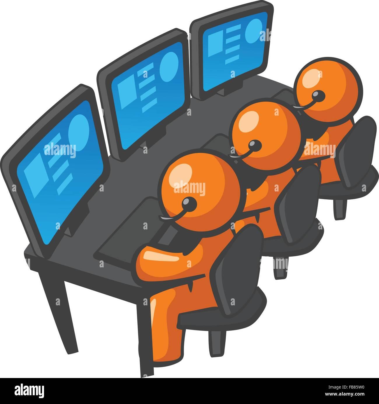 Orange uomo supporto telefonico o telemarketing, locale o in outsourcing. È molto diversificato. Essa può Immagini Stock
