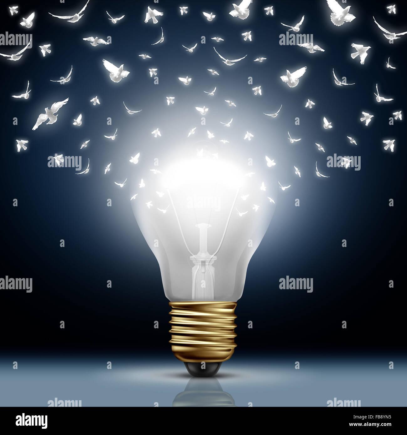 Inizio creativi concetto come una brillante luce accesa la lampadina trasformando al bianco uccelli in volo come Immagini Stock