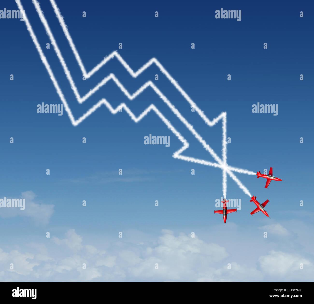 Tuffo finanziaria il concetto di business come un gruppo di air show acrobatici aerei a getto la creazione di un Immagini Stock