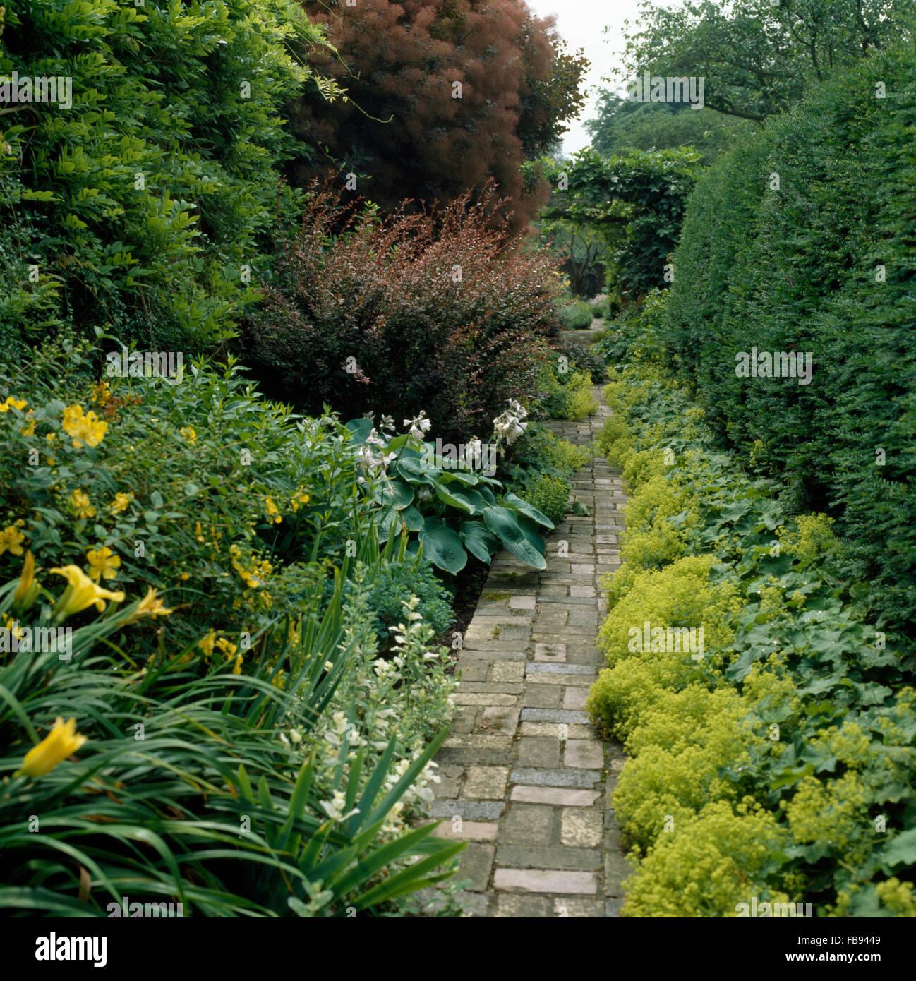 Sentiero lastricato attraverso le frontiere con Hemerocallis giallo e verde lime Alchemilla Mollis in un paese grande Immagini Stock