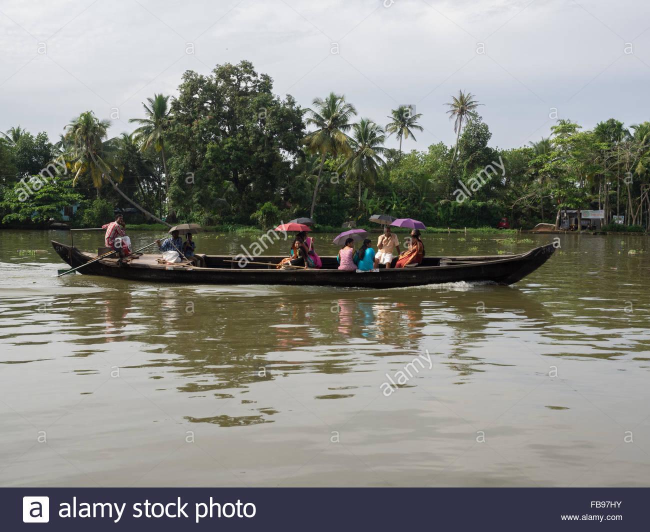 Una barca vicino a Alleppey Immagini Stock