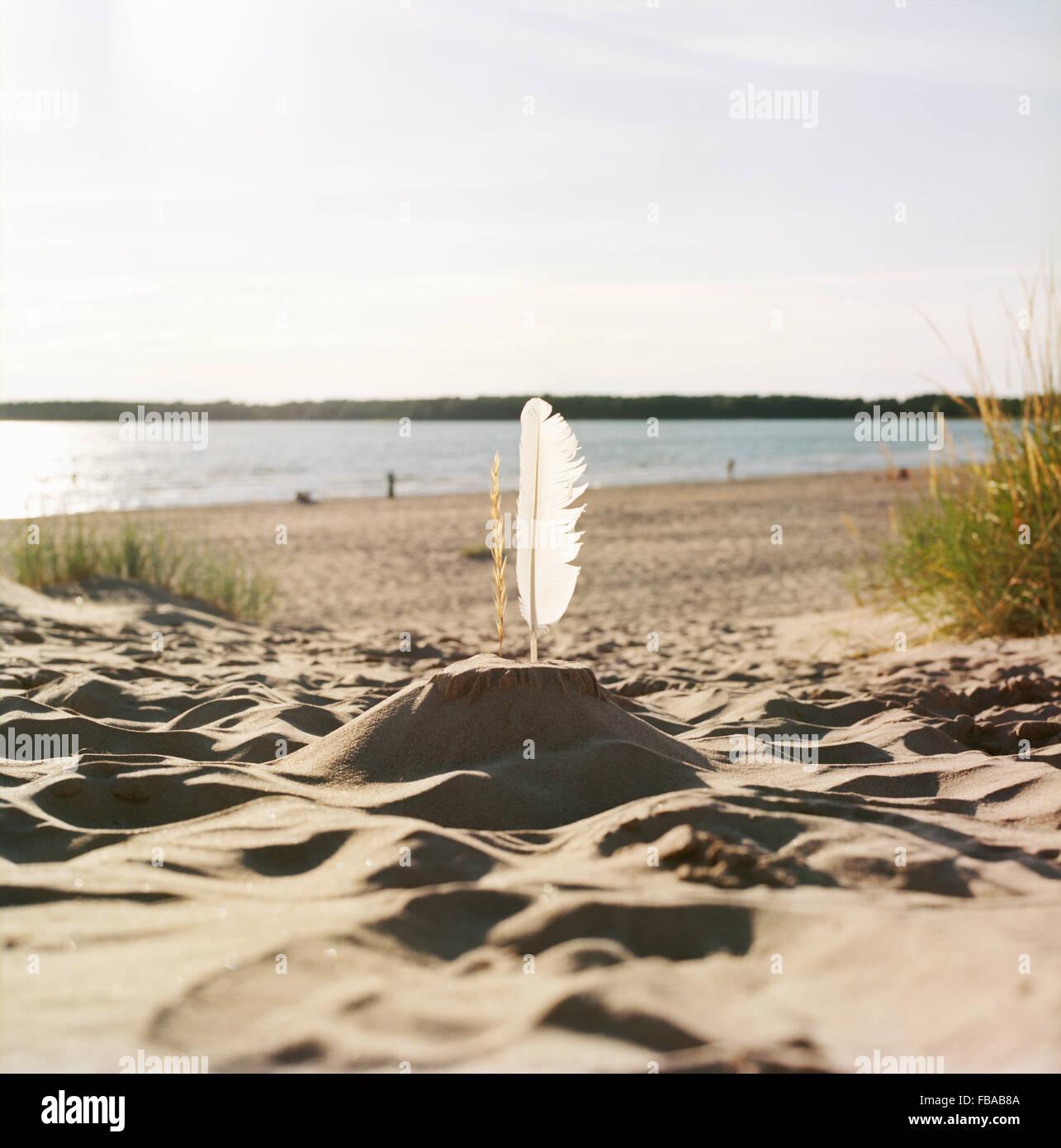 Finlandia, Pori, Yyteri, Sandcastle con giù sulla spiaggia sabbiosa Immagini Stock