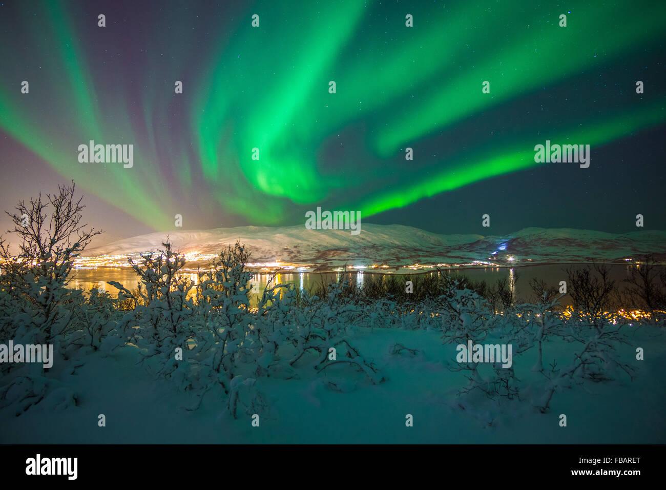 Aurora Boreale su Tromso, Norvegia settentrionale Foto Stock