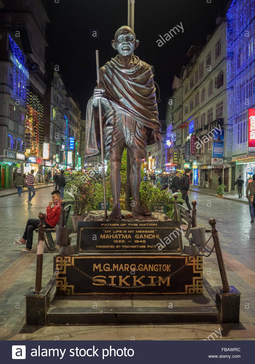 Statua di Gandhi in Gangtok Immagini Stock