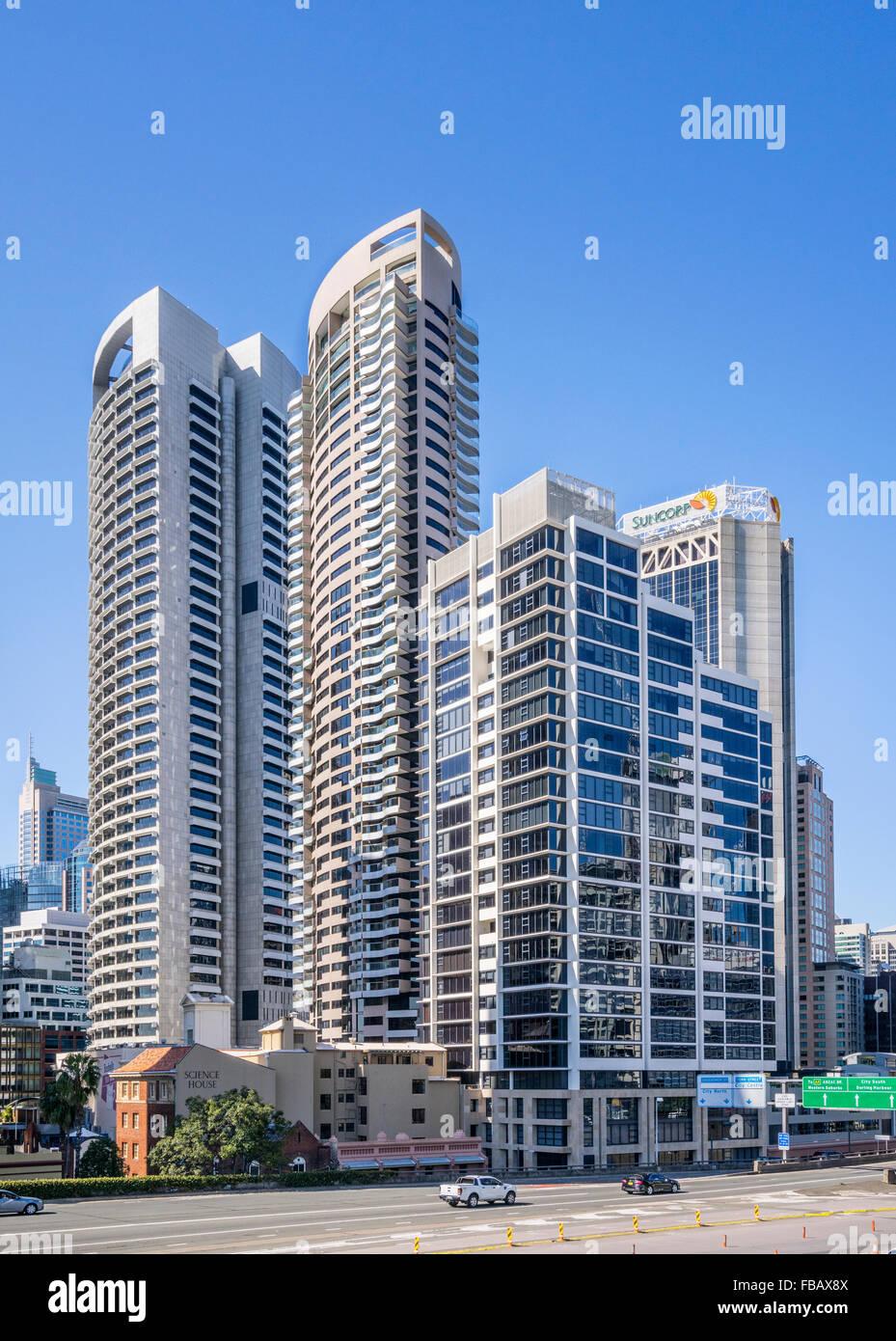 Australia, Nuovo Galles del Sud, Sydney City North highrise a Bradfield autostrada Immagini Stock