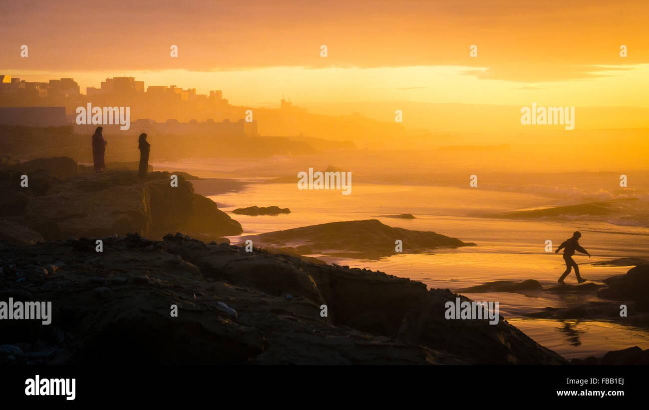 Tramonto marocchino, Asilah Immagini Stock