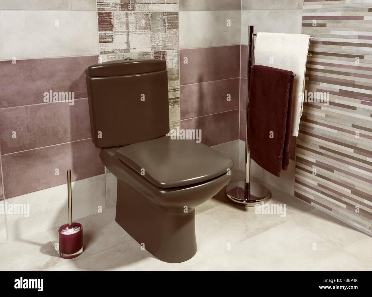 Dettaglio di un moderno bagno privato interno con le mattonelle