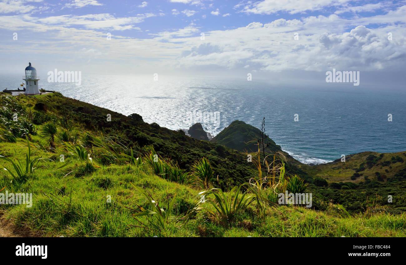 Cape Reinga/Te Rerenga Wairua, casa di luce in corrispondenza della punta settentrionale della Nuova Zelanda Immagini Stock