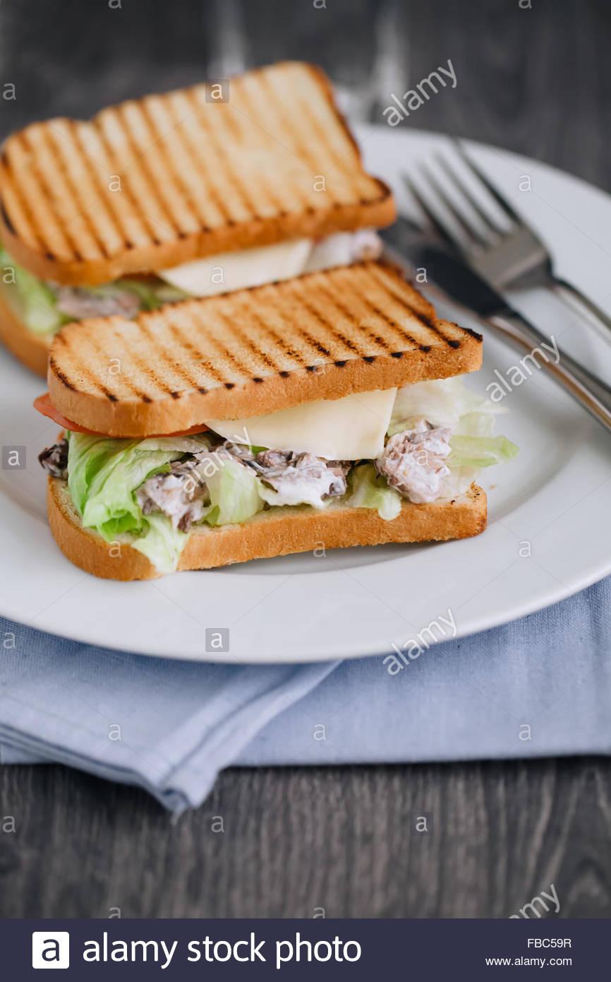 In prossimità dei due tonno panini sulla piastra Immagini Stock
