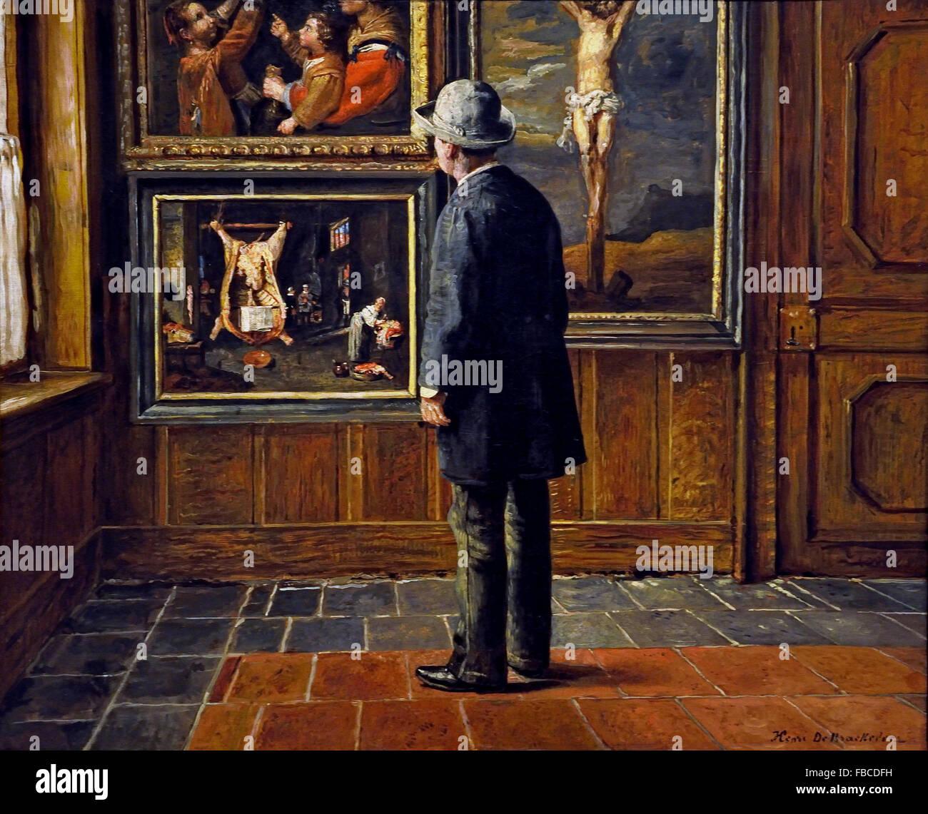 L'amante di immagine 1884 Henri Braekeleer 1840-1888 belga fiamminga del Belgio Immagini Stock