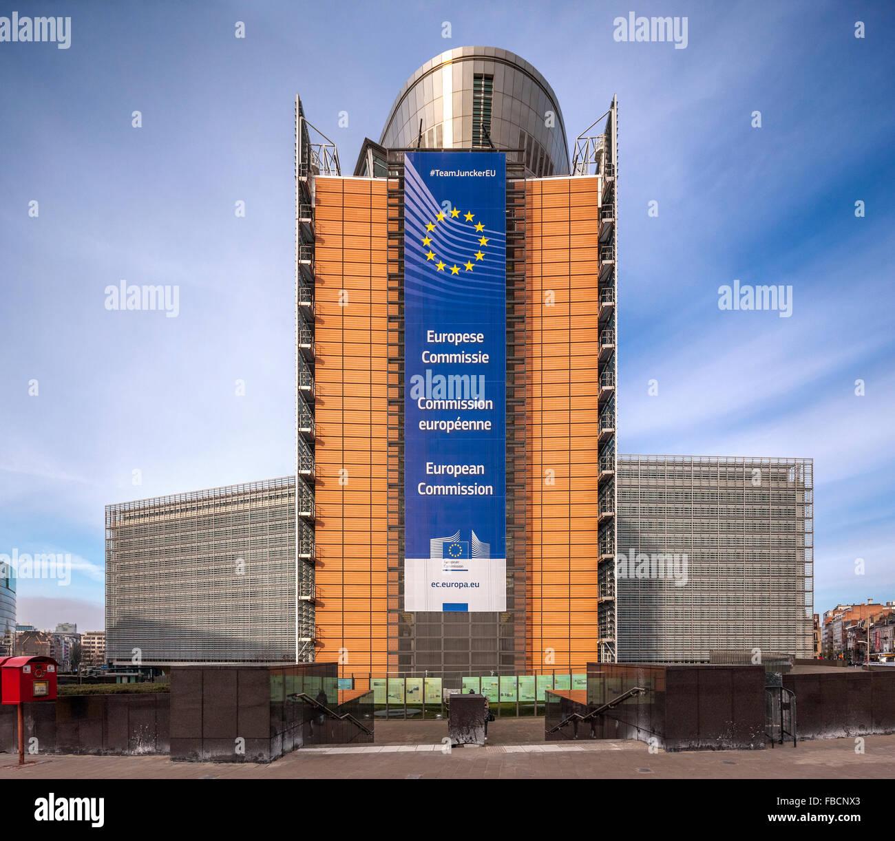 Bruxelles Edificio Berlaymont. La sede centrale della Commissione europea, CE, l'esecutivo dell'Unione europea, Immagini Stock