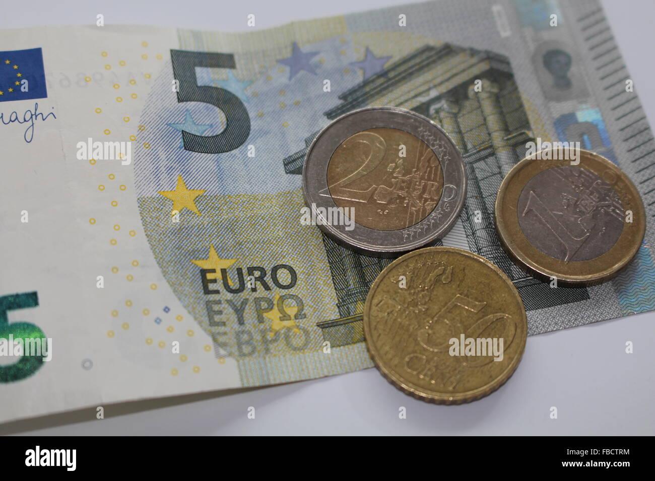 Simbolo per il nuovo 8 Euro 50 Pagamento minimo Immagini Stock
