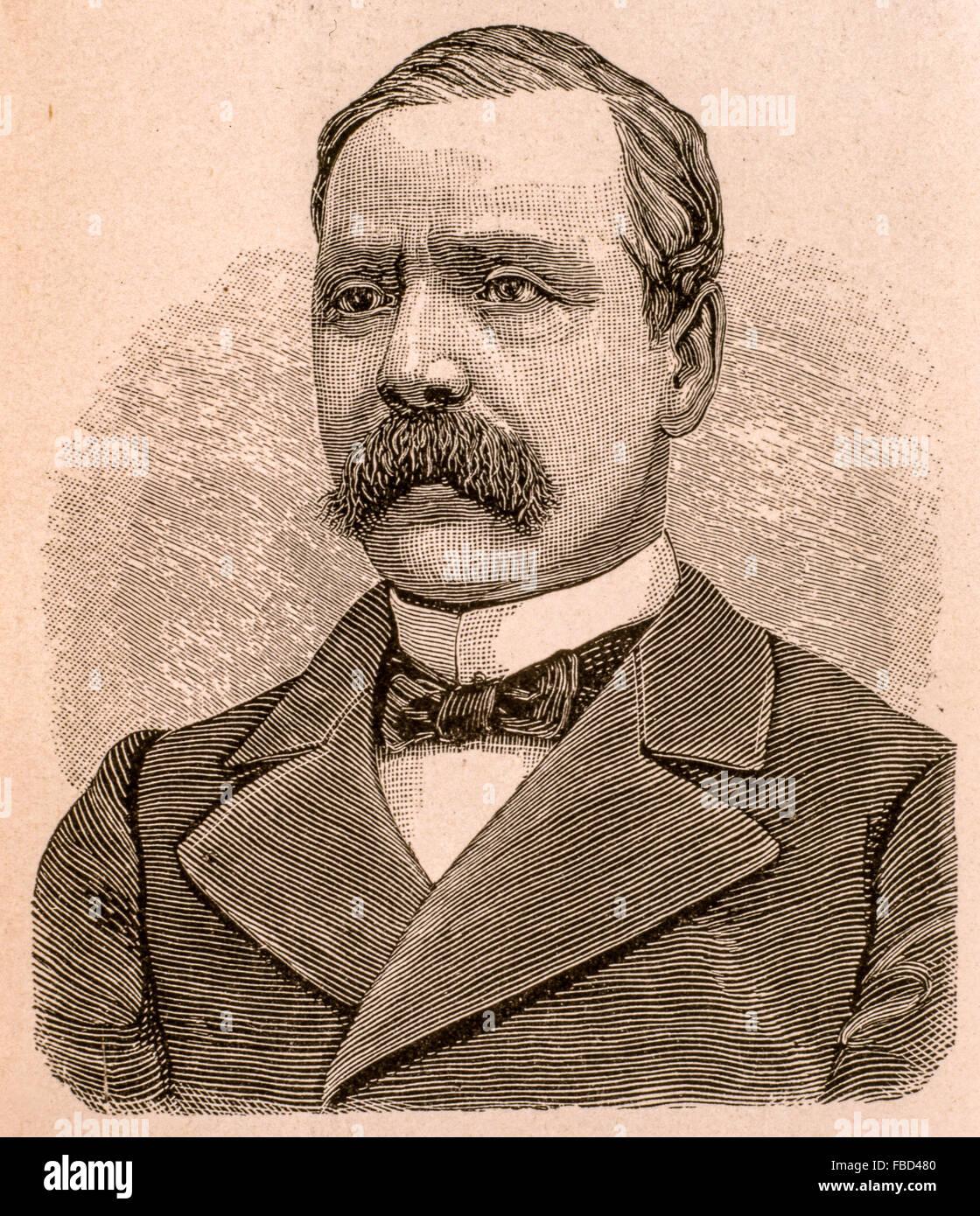 Agostino Bersani ( Milano 19 Ottobre 1812 - Roma, 30 Aprile1886 ) Dal Libro ' vita di Garibaldi ' 1880 Immagini Stock
