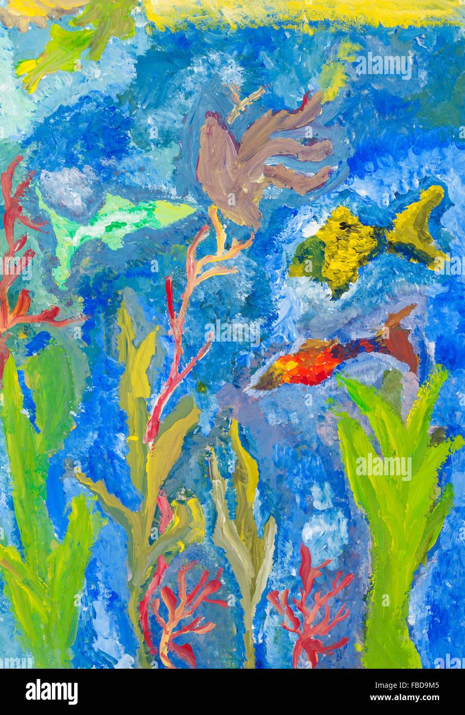 Bambino Disegno Di Pesci E Alghe Marine In Mare Da Acquerello